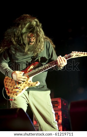 CHICAGO - SEP. 16: Stephen Carpenter of The Deftones takes the stage on the opening night of BlackDiamondSkye on September 16, 2010 in Chicago - stock photo