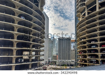 Chicago - September 8, 2015: Chicago Skyline with a view of the Marina City Complex and the Chicago Theater.
