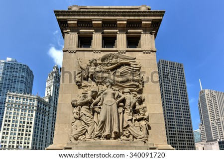 Chicago - September 6, 2015:  Michigan Avenue bridge relief in Chicago. The relief called Regeneration depicts workers rebuilding Chicago after the Great Chicago Fire of 1871. - stock photo