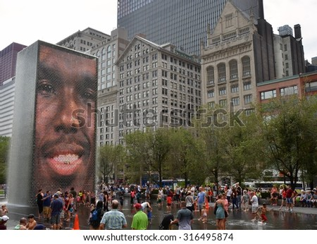 CHICAGO - September 8, 2015: Millenium park in Chicago, IL, USA. - stock photo