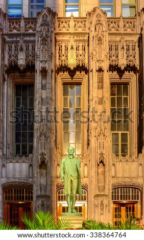 Chicago - September 5, 2015: Nathan Hale statue in Chicago by the Tribune Tower. He was a soldier for the Continental Army during the American Revolutionary War. - stock photo