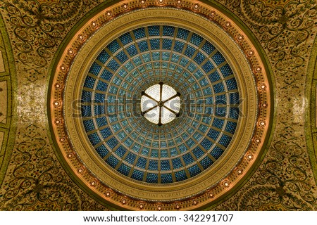 Chicago - September 8, 2015: World's largest Tiffany glass dome ceiling in the Cultural Center in Chicago, Illinois.