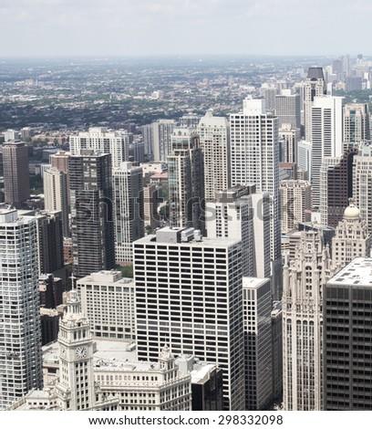 Chicago skyline , a unique perspective. - stock photo