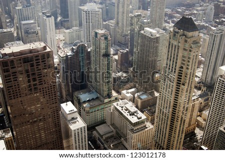 Chicago Skyline Aerial During the Daytime - stock photo