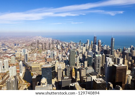 Chicago Skyline Aerial View - stock photo