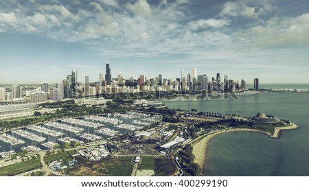 Chicago Skyline aerial view with marina full of boats, vintage colors - stock photo
