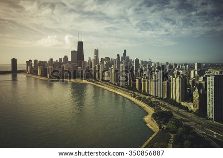 Chicago Skyline Aerial View with park and the beach - Vintage colors