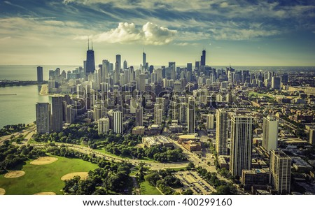 Chicago Skyline aerial view with saturated colors - stock photo