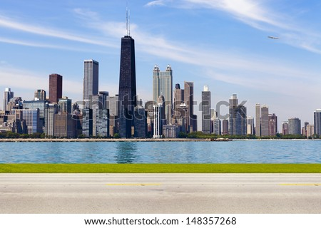 Chicago Skyline Alternative Side View With Road - stock photo