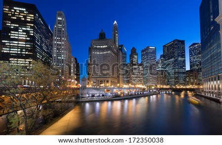 Chicago skyline and reflection at night - stock photo