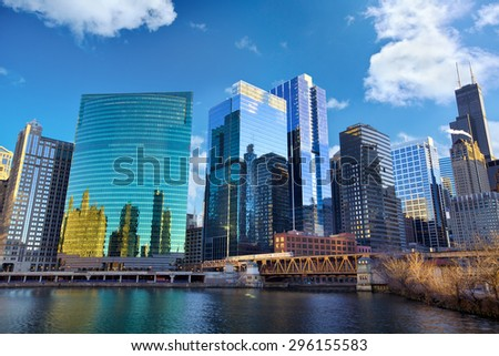 Chicago skyline and The Loop area, IL, United States