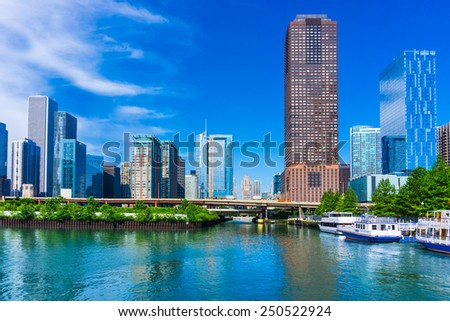 Chicago skyline and waterfront of the Chicago River, Illinois  - stock photo