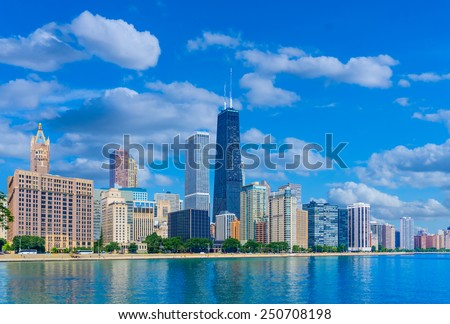 Chicago skyline and waterfront of the Lake Michigan, Illinois  - stock photo