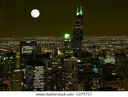 Chicago Skyline at night in United States