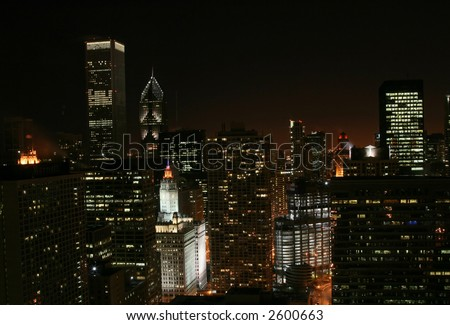 Chicago Skyline at Night with Super Bowl Colors