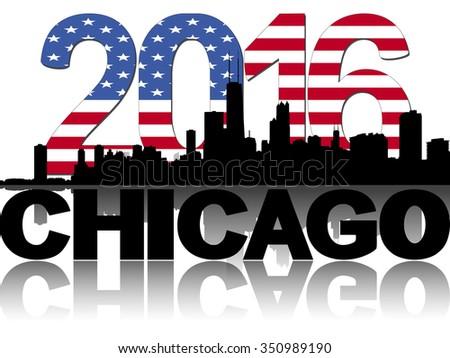Chicago skyline 2016 flag text illustration - stock photo