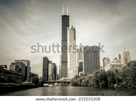Chicago skyline from boat in Chicago River, a unique view - stock photo