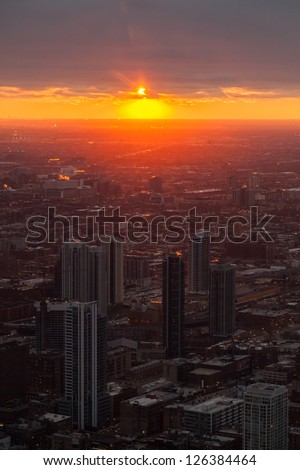Chicago Skyline from the Signature Lounge in the Hancock Building - stock photo