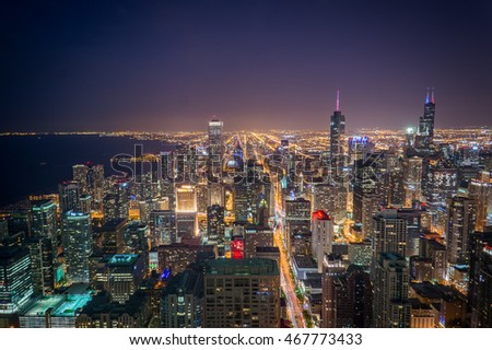 Chicago skyline from the top at night