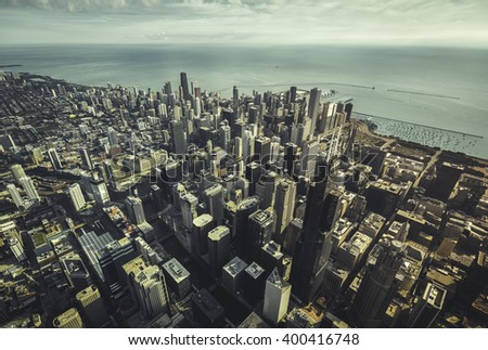 Chicago Skyline high angle aerial view with downtown skyscrapers. Vintage colors - stock photo