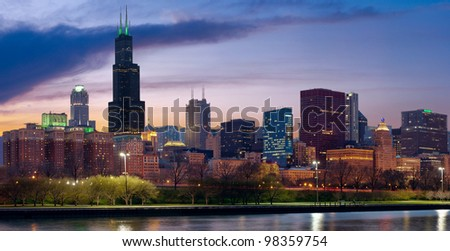 Chicago skyline. Image of Chicago skyline at twilight. - stock photo