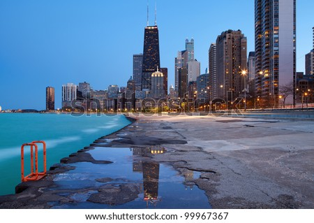 Chicago skyline. Image of the Chicago downtown lakefront at twilight blue hour.