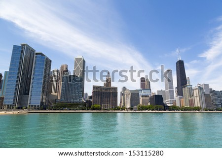 Chicago skyline in summertime with Hancock building