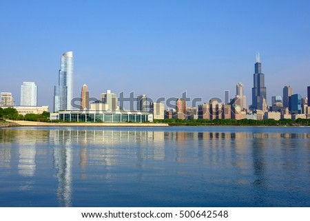 Chicago skyline in the morning