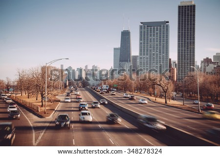Chicago skyline.Lake shore drive - stock photo