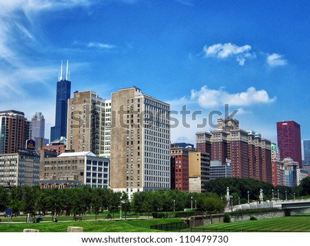 Chicago skyline on sunny summer day