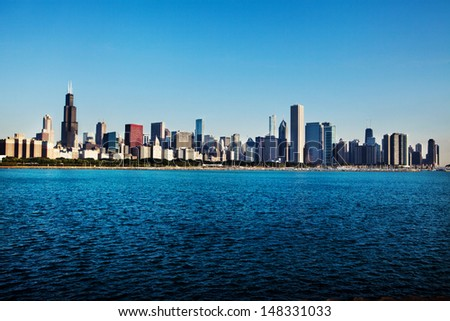 Chicago skyline over Lake Michigan early morning