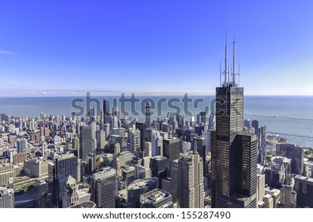 Chicago skyline panorama aerial view with skyscrapers and city skyline - stock photo