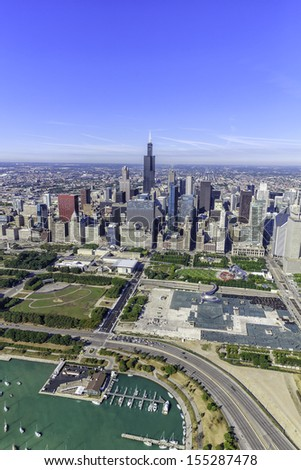 Chicago skyline panorama aerial view with skyscrapers and city skyline at Michigan lakefront - stock photo