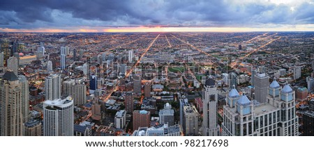 Chicago skyline panorama aerial view with skyscrapers with cloudy  sky at sunset. - stock photo