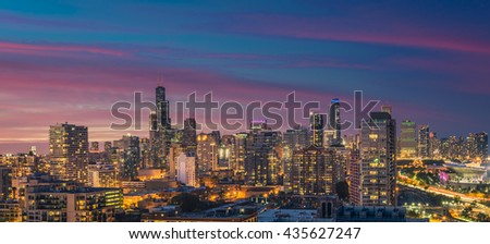 Chicago Skyline panorama at dusk, scenic sky