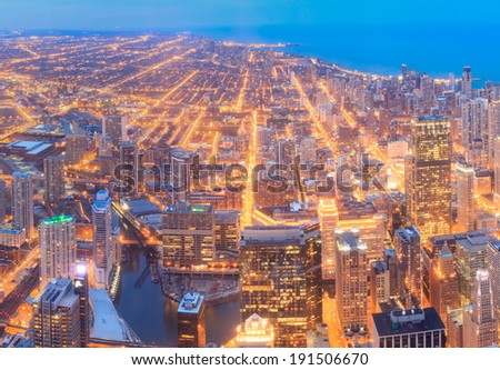 Chicago skyline panorama in twilight scene - stock photo