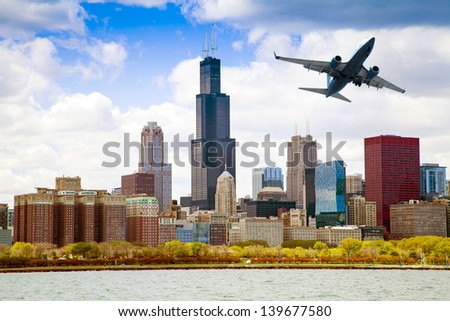 Chicago Skyline Panorama With Air Travel - stock photo