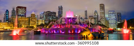 Chicago skyline panorama with Buckingham Fountain at night, United States