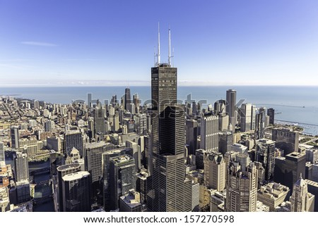 Chicago skyline panorama with skyscrapers and city skyline at Michigan lakefront - stock photo