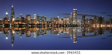 Chicago skyline panoramic at twilight with reflection (large file)