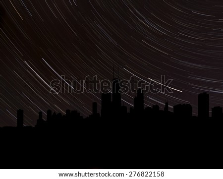 Chicago skyline silhouette with star trails illustration - stock photo