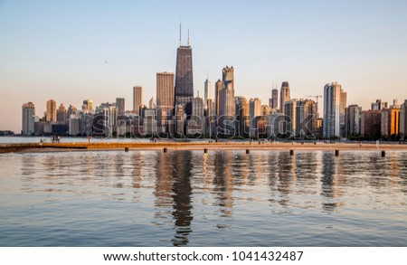Chicago Skyline view from North Avenue Beach