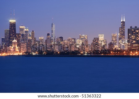 Chicago Skyline viewed from Montrose Harbor - stock photo