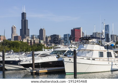 Chicago skyline with boats in foreground - stock photo