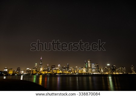 Chicago Skyline with stars - stock photo
