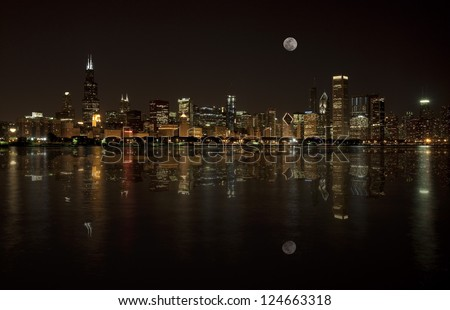 Chicago Skyline with the Moon rising on the Horizon - stock photo