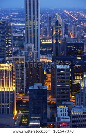 Chicago Skyscrapers at Night in Vertical Aerial Photography. Chicago, Illinois, United States - stock photo