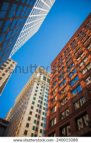 Chicago  street aerial view with skyscrapers - stock photo