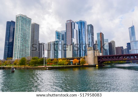 CHICAGO, UNITED STATES - OCTOBER 15, 2013 -  Buckingham fountain and Chicago downtown skyline