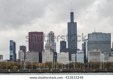 CHICAGO, UNITED STATES - OCTOBER 14, 2012 - skyline view of Chicago city in the United States of America with lake michigan